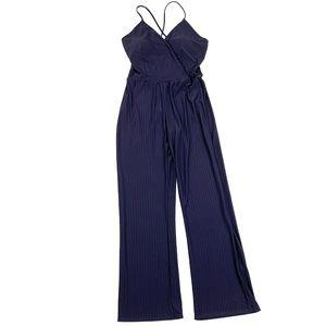 Fashion Nova Press Rewind Stripe Jumpsuit Navy
